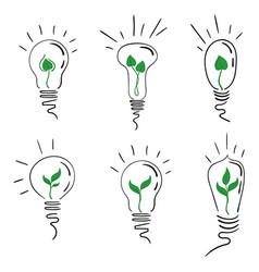 a set of light bulbs with a tree sprout vector image