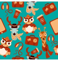Animal hipsters seamless background vector image vector image