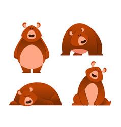 Bear - modern set of flat cartoon animal vector