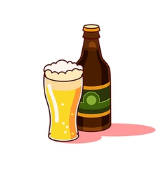 Beer glass and bottle vector