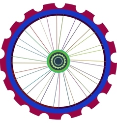 Bicycle wheel isolated on white bike vector image vector image