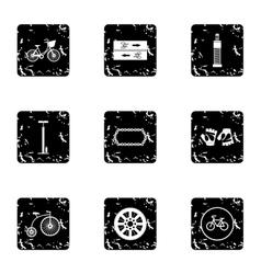 Bike icons set grunge style vector