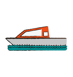 Boat on water icon image vector