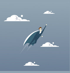 businessman fly wear hero cape success concept vector image