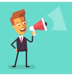 Businessman shouting into megaphone Flat design vector image vector image