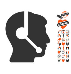 Call center operator icon with love bonus vector