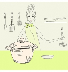 Cook woman vector