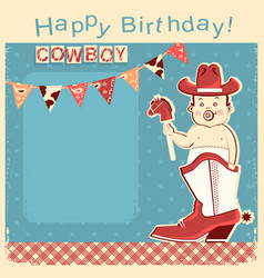 cowboy happy birthday card with little baby vector image vector image