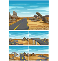 Different scenes with road in desert land vector