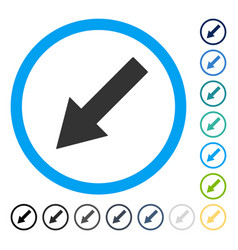 Down-left rounded arrow icon vector