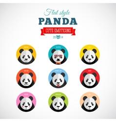 Flat Style Panda Emoticons Set vector image