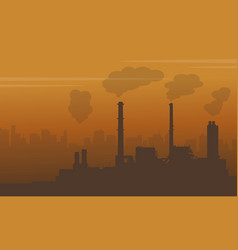 Fog on city with pollution industry vector