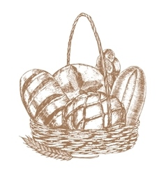 Fresh bread basket hand draw sketch vector