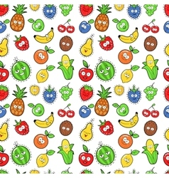 Fruits seamless background with funny oranges vector