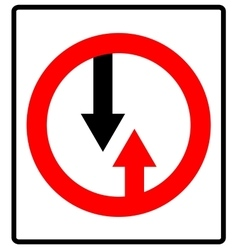 Give way to oncoming traffic sign road vector
