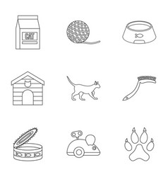 Happy cat life icons set outline style vector