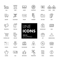 line icons set shopping vector image vector image