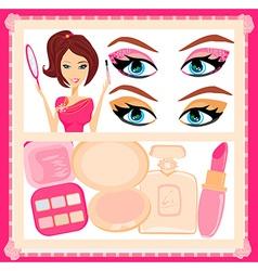 Make-up girl poster vector image vector image