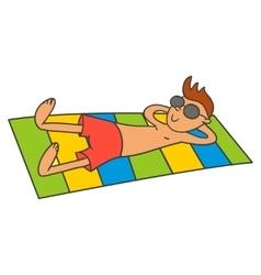 Man sunbathing vector image