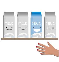 milk emotions a carton of vector image vector image