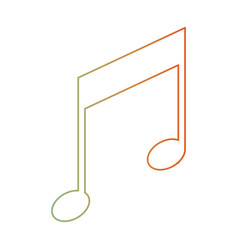 Musical note icon in degraded green to red color vector