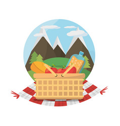 Picnic basket food blanket mountains label vector