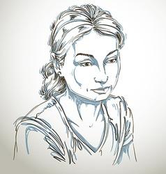 Portrait of sad attractive woman of good-lo vector