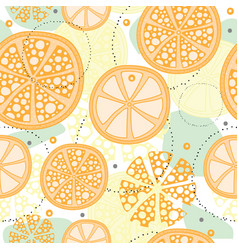 Seamless pattern with abstract orange fruit lemon vector
