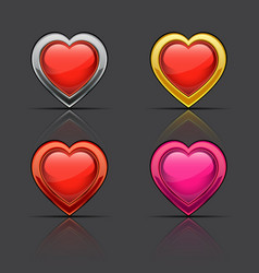 set of glossy hearts vector image