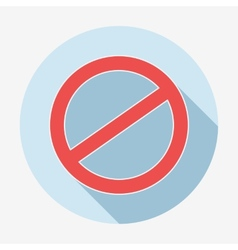 Single flat deny icon with long shadow vector image