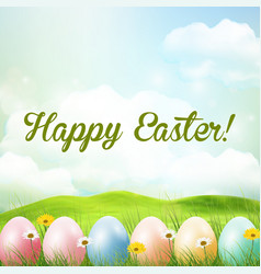 Spring meadow background with easter colorful eggs vector