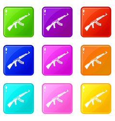 submachine gun set 9 vector image