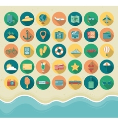 Summer Icons Set Flat design style vector image vector image