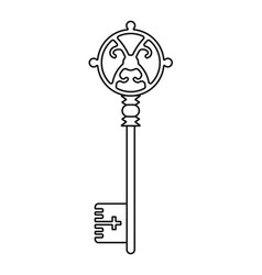 Vintage key for coloring book black linear vector