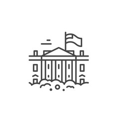 white house line icon vector image vector image