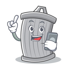 with phone trash character cartoon style vector image