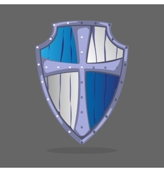 Wooden armor shield blue and white colors with vector