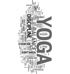 Yoga as a life philosophy text word cloud concept vector