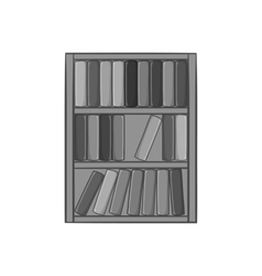Shelf of books icon black monochrome style vector