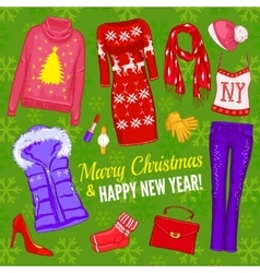 Christmas fashionable clothing composition vector