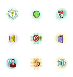 Business plan icons set pop-art style vector
