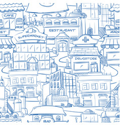 City with hand drawn buildings doodle urban vector