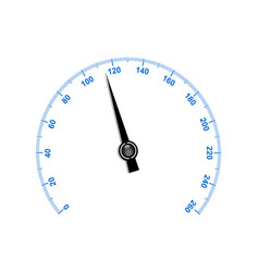 Needle speedometer with blue numbers vector