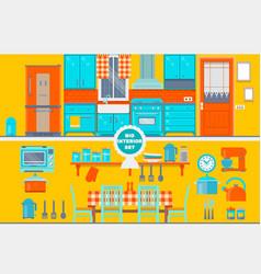 retro kitchen interior with furniture utensils vector image