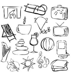 Relax doodle images vector