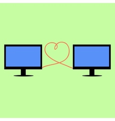 Flat style computers connected with heart vector