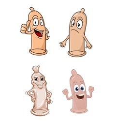 Cartoon funny latex condoms characters vector