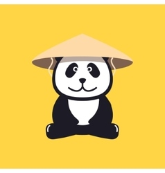 Panda in chinese conical straw hat vector