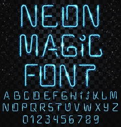 Font magic bright shiny font electric letters vector