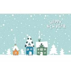 Xmas card of three houses on a snowy vector